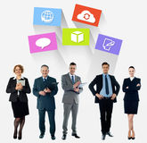 Business collage, latest technology icons. Business team, colorful icons over white stock illustration