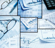 Business collage. Of photos, showing business and financial report Royalty Free Stock Photo