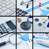 Business collage pictures, finance concept Stock Images