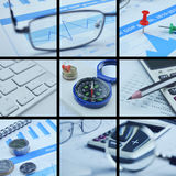 Business collage pictures, finance concept Royalty Free Stock Image