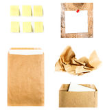Business collage with recycled paper letter envelope, sticky not Stock Image
