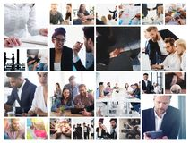 Business collage with scene of business person at work royalty free stock photography