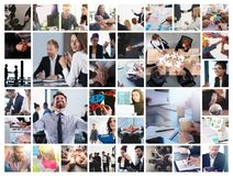 Business collage with scene of business person at work stock photography