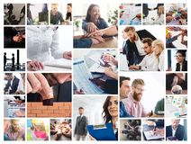 Business collage with scene of business person at work royalty free stock images