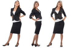 Business collage of a young businesswoman. Business collage of a young and successful business woman in different perspectives. Isolated on white background Royalty Free Stock Photos