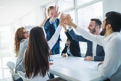 Business colleagues celebrating successful business year Stock Images