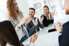 Business colleagues celebrating successful business year Royalty Free Stock Images