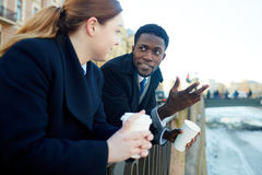 Business Colleagues Chatting by River royalty free stock image