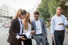 Business colleagues on city streets Royalty Free Stock Photography
