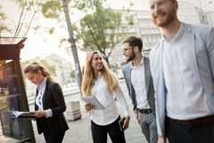 Business colleagues on city streets Royalty Free Stock Photo