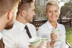 Business colleagues on coffee break Royalty Free Stock Image