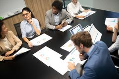 Business colleagues in conference meeting room presentation. Business colleagues in conference meeting room during presentation stock image