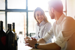 Business colleagues dating in restaurant. Happy business colleagues dating in restaurant royalty free stock photos