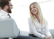 Business colleagues discussing new ideas in the office. Photo with copy space Royalty Free Stock Photo