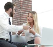 Business colleagues discussing new ideas in the office Stock Photo