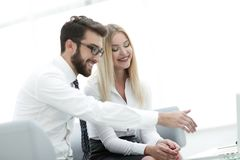 Business colleagues discussing new ideas in the office Stock Images