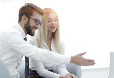 Business colleagues discussing new ideas in the office. Photo with copy space Royalty Free Stock Photos