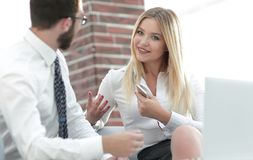 Business colleagues discussing new ideas in the office. Photo with copy space Stock Photography