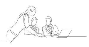 Business colleagues discussing papers during working process - one line drawing vector illustration