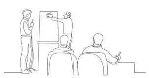 Business colleagues discussing presentation at meeting - one line drawing vector illustration