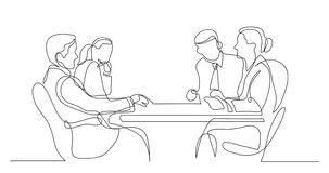 Business colleagues discussion during meeting - one line drawing vector illustration