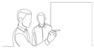 Business colleagues drawing on whiteboard during brainstorm session - one line drawing vector illustration