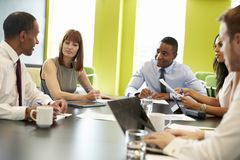 Business colleagues at an informal meeting, close up royalty free stock photo