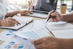 Business colleagues meeting to conference professional investor working a new marketing business strategy project discussion and. Analysis data chart and graph stock photo