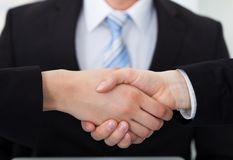 Business colleagues shaking hands Royalty Free Stock Photos