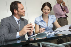 Business colleagues sitting at conference table in meeting room, smiling (tilt) Royalty Free Stock Photography