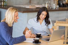 Business colleagues using laptop while having a cup of tea Royalty Free Stock Photography