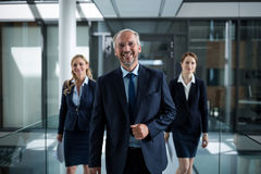 Business colleagues walking together in office corridor Royalty Free Stock Photography