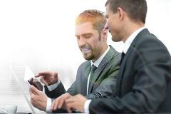 Business colleagues working with tablet computer. Photo with copy space Stock Photos