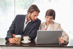 Business colleagues working on their break Royalty Free Stock Images