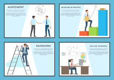 Business Set of Posters Depicting Diligent Workers vector illustration