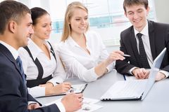Business collegues. Business meeting in an office with businessmen and businesswomen Stock Images