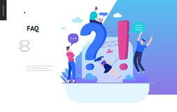 Business series - FAQ web template. Business, color 2- FAQ -modern flat vector concept illustration of Frequently asked questions People around exclamation and royalty free illustration