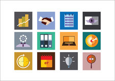 Business Color Flat Icons Stock Photos
