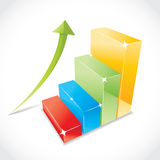 Business color graph. With rising equity arrow, illustration Royalty Free Stock Image