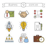 Business color icons set Stock Images