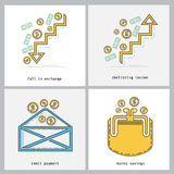 Business color line icon fall in exchange, sheltering income, remit payment, money savings Stock Photography