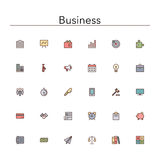 Business Colored Line Icons. Business and finance colored line Icons set. Vector illustration Royalty Free Stock Image