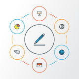Business Colorful Outline Icons Set. Collection Of Administrator, Message, World And Other Elements. Also Includes. Business Colorful Outline Icons Set Stock Images