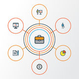 Business Colorful Outline Icons Set. Collection Of Pie Chart, Agreement, Administrator And Other Elements. Also Includes. Business Colorful Outline Icons Set Stock Photography