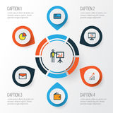 Business Colorful Outline Icons Set. Collection Of Report Demonstration, Circle Stats, Financial Profit And Other. Elements Royalty Free Stock Photos