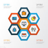 Business Colorful Outline Icons Set. Collection Of Report Demonstration Royalty Free Stock Image