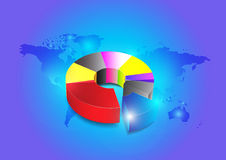 Business colorful pie chart for your documents on blue background Stock Images