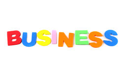 Business in colorful toy letters Royalty Free Stock Images