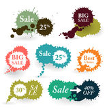 Business Colorful Vector Splashes Labels. Royalty Free Stock Photography