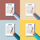 Business on colour background with resume,  Royalty Free Stock Images